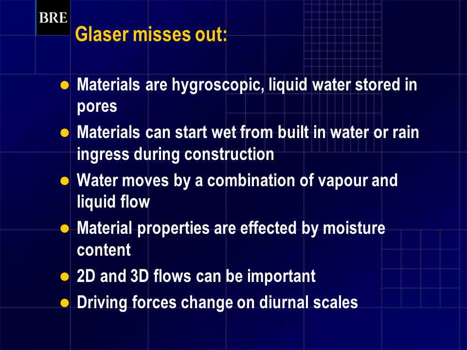Glaser misses out: Materials are hygroscopic, liquid water stored in pores.