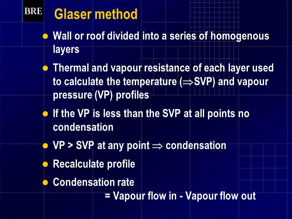 Glaser method Wall or roof divided into a series of homogenous layers