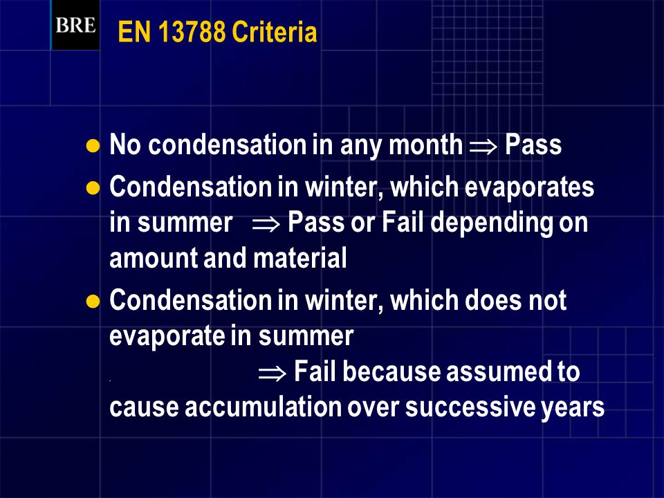 EN 13788 Criteria No condensation in any month  Pass.