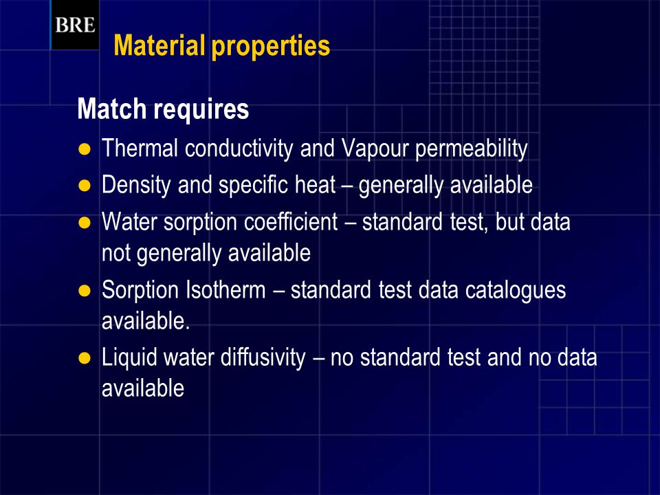 Material properties Match requires