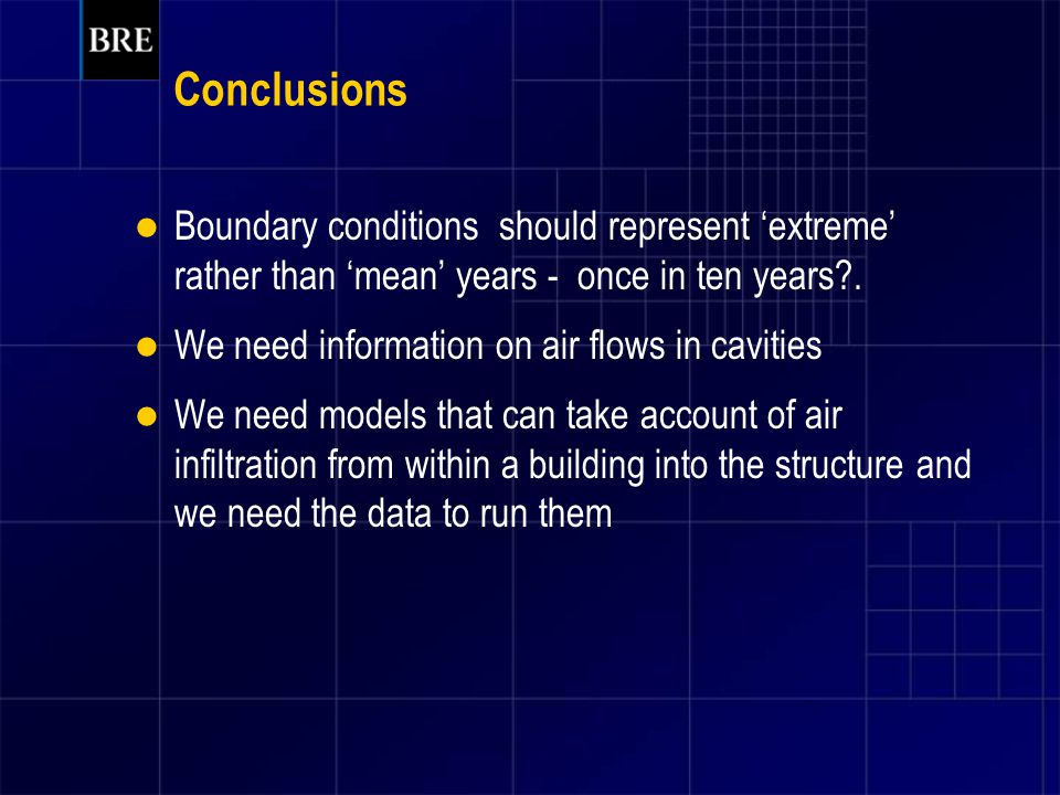Conclusions Boundary conditions should represent 'extreme' rather than 'mean' years - once in ten years .
