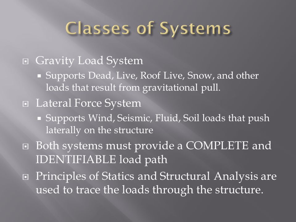 Classes of Systems Gravity Load System Lateral Force System