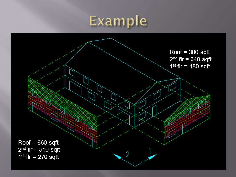 Example Roof = 300 sqft 2nd flr = 340 sqft 1st flr = 180 sqft