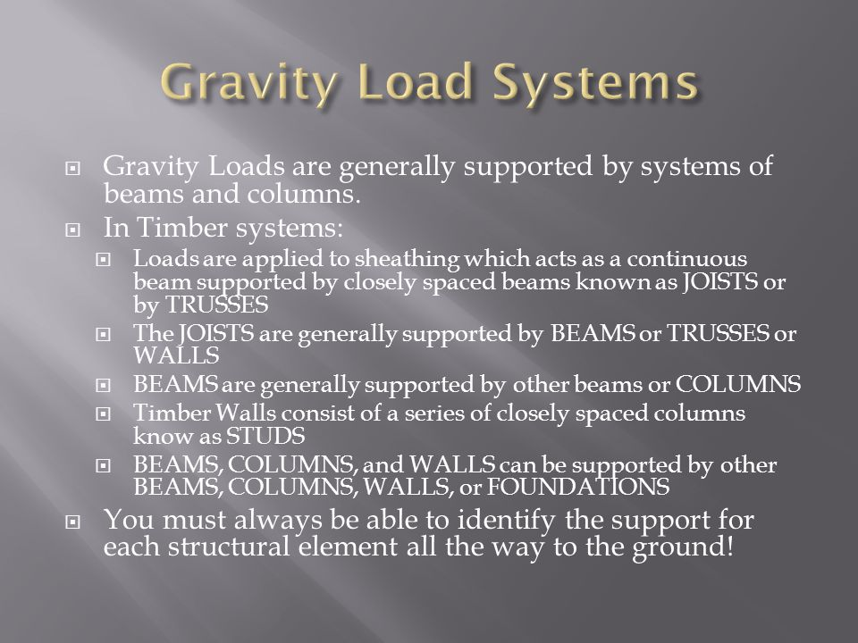 Gravity Load Systems Gravity Loads are generally supported by systems of beams and columns. In Timber systems:
