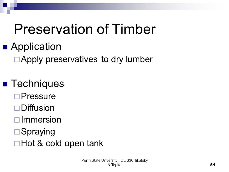 Preservation of Timber