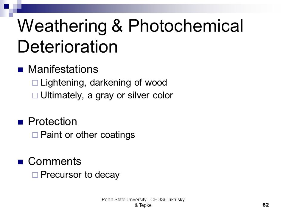 Weathering & Photochemical Deterioration