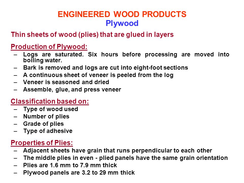 ENGINEERED WOOD PRODUCTS Plywood