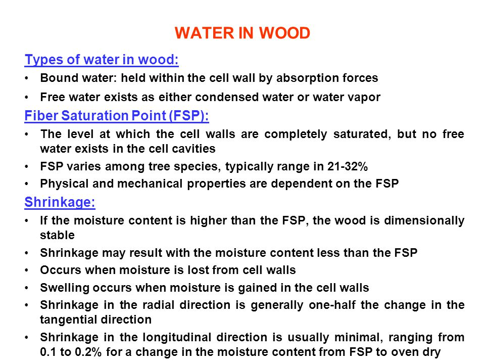 WATER IN WOOD Types of water in wood: Fiber Saturation Point (FSP):