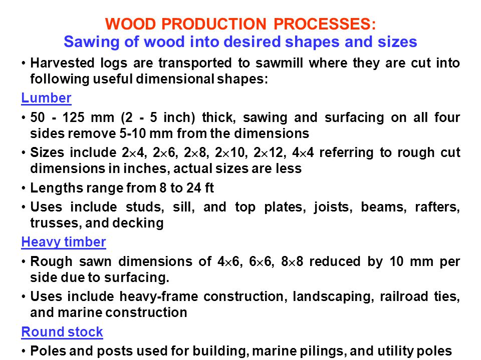WOOD PRODUCTION PROCESSES: Sawing of wood into desired shapes and sizes