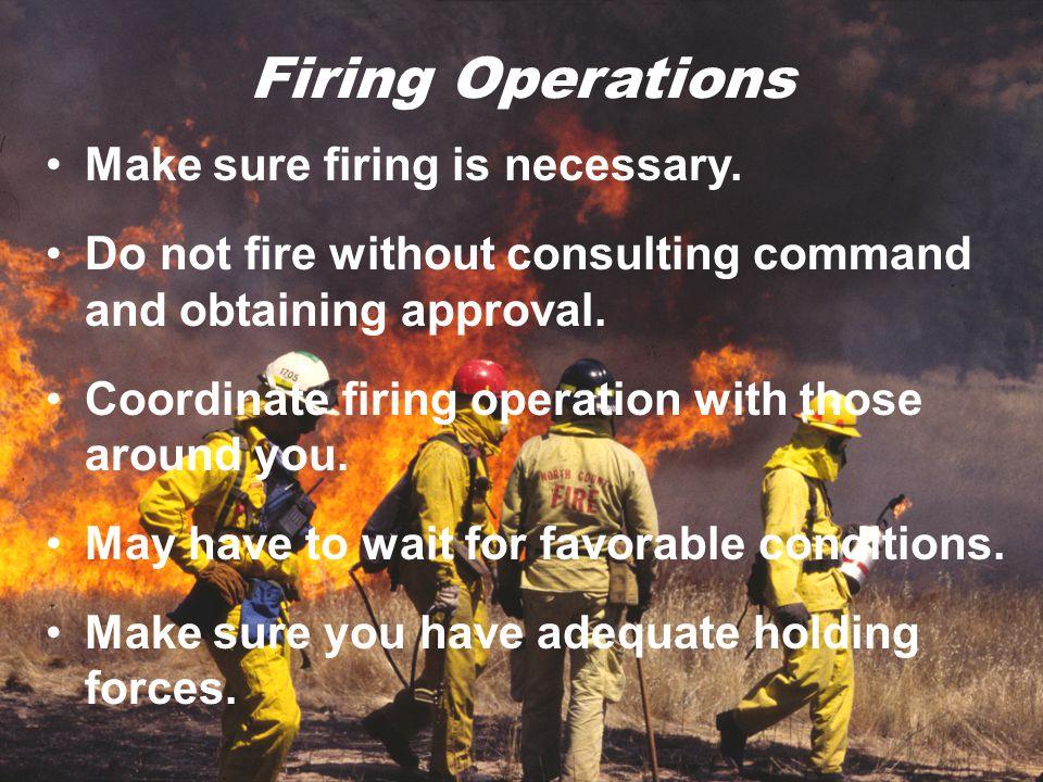 Firing Operations Make sure firing is necessary.