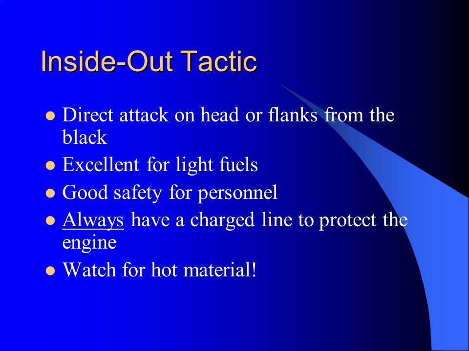 Inside-Out Tactic Direct attack on head or flanks from the black