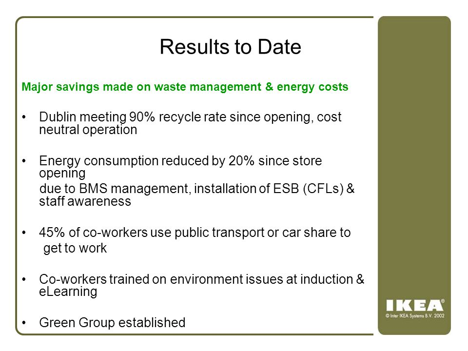 Results to Date Major savings made on waste management & energy costs. Dublin meeting 90% recycle rate since opening, cost neutral operation.