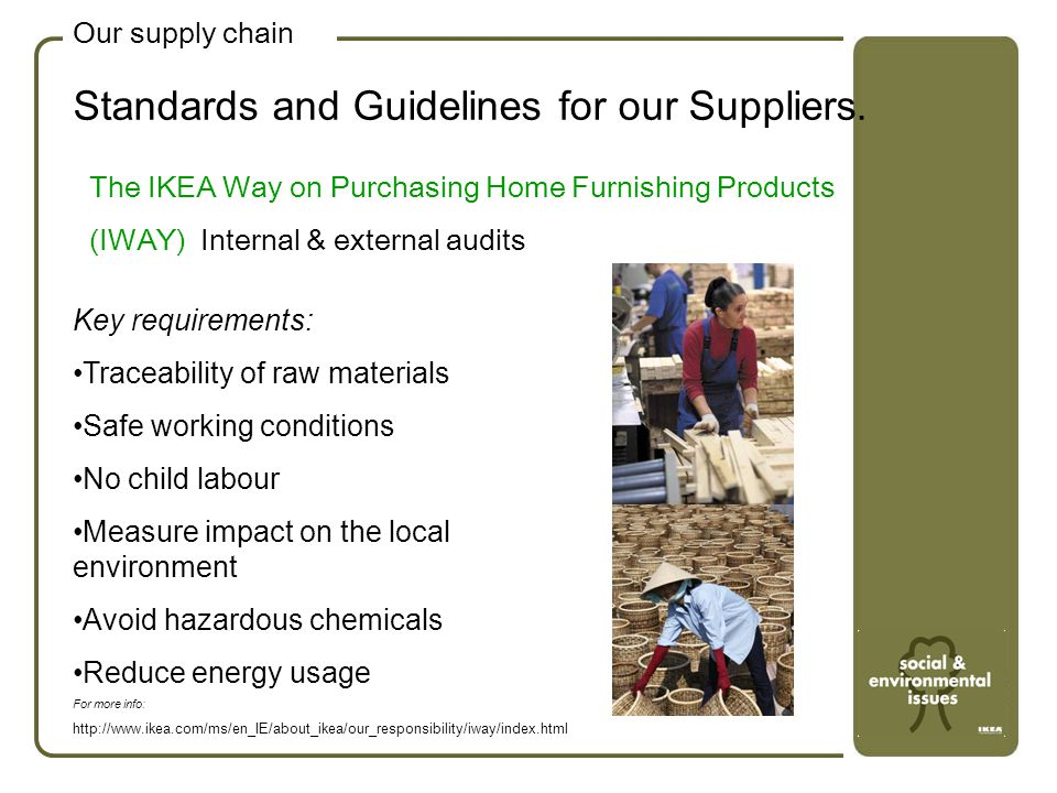 Standards and Guidelines for our Suppliers.