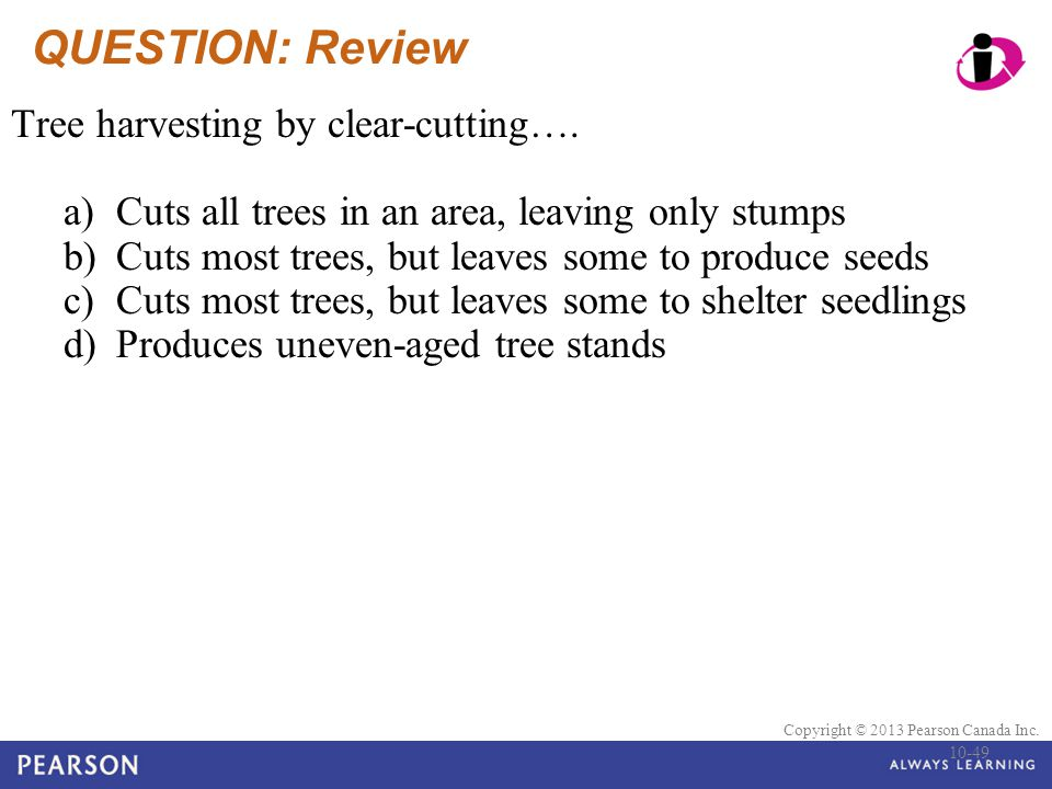 QUESTION: Review Tree harvesting by clear-cutting….
