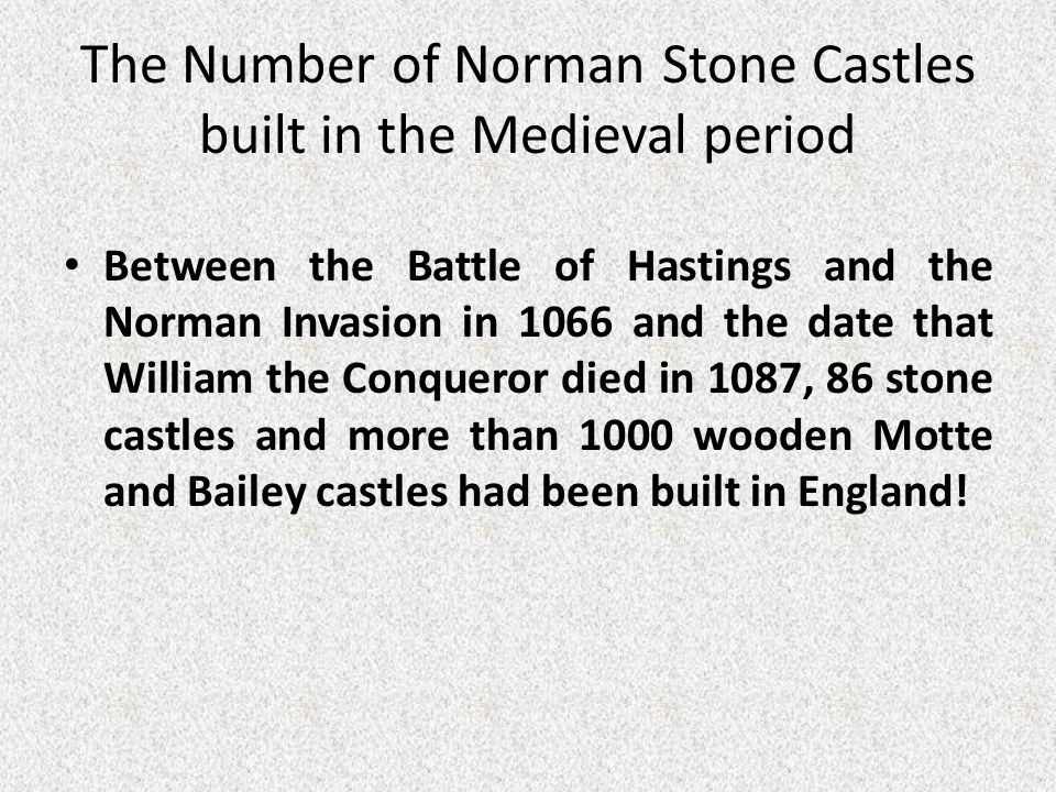 The Number of Norman Stone Castles built in the Medieval period