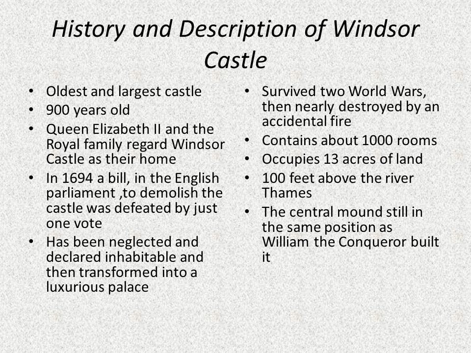 History and Description of Windsor Castle