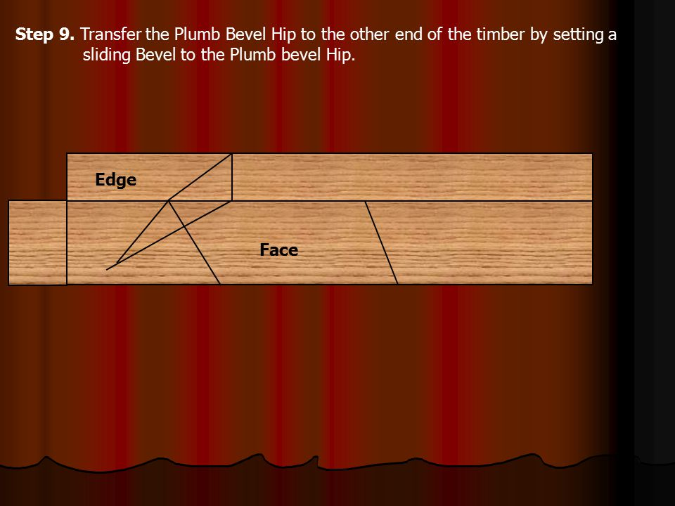 Step 9. Transfer the Plumb Bevel Hip to the other end of the timber by setting a sliding Bevel to the Plumb bevel Hip.