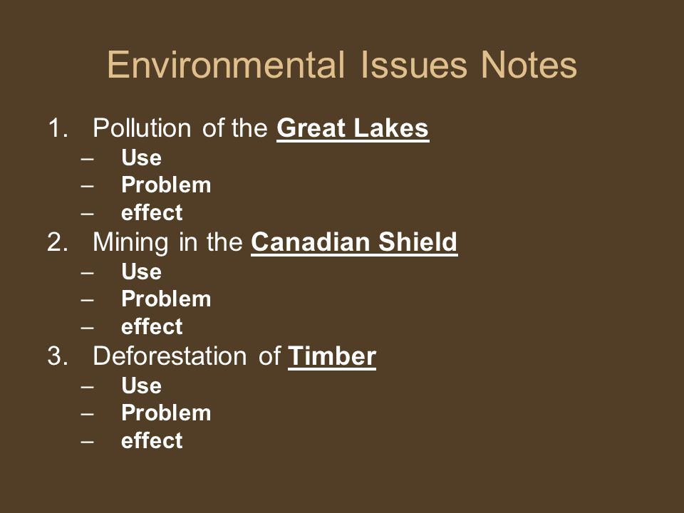 Environmental Issues Notes
