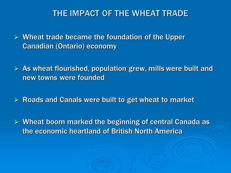 THE IMPACT OF THE WHEAT TRADE