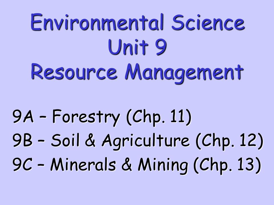 Environmental Science Unit 9 Resource Management