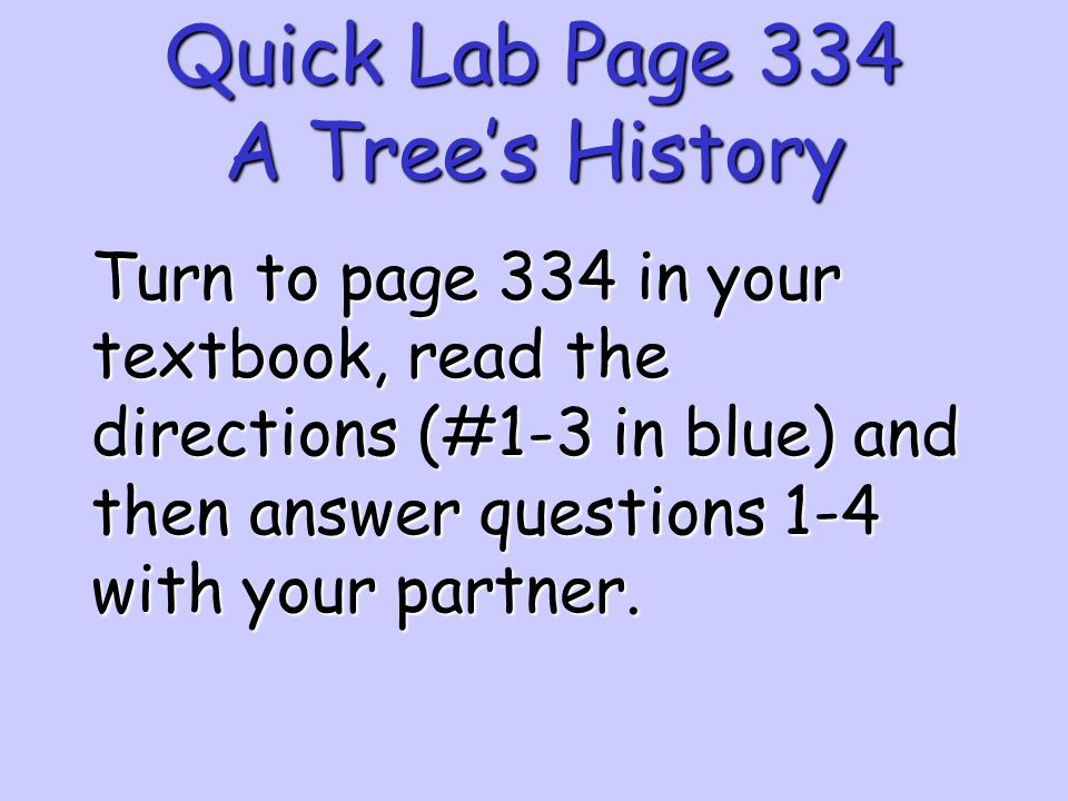 Quick Lab Page 334 A Tree's History