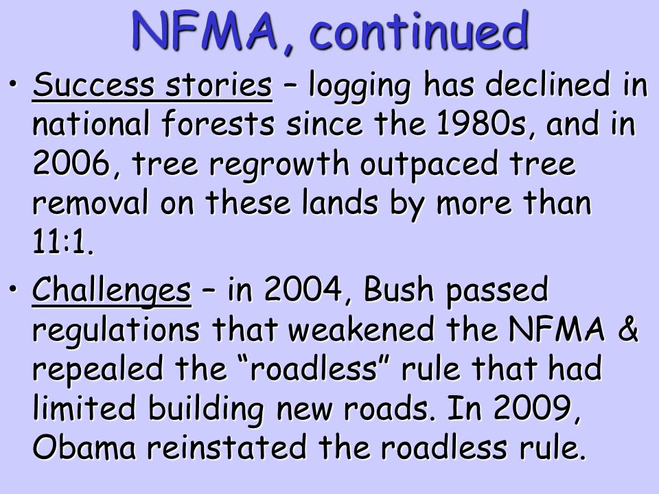 NFMA, continued