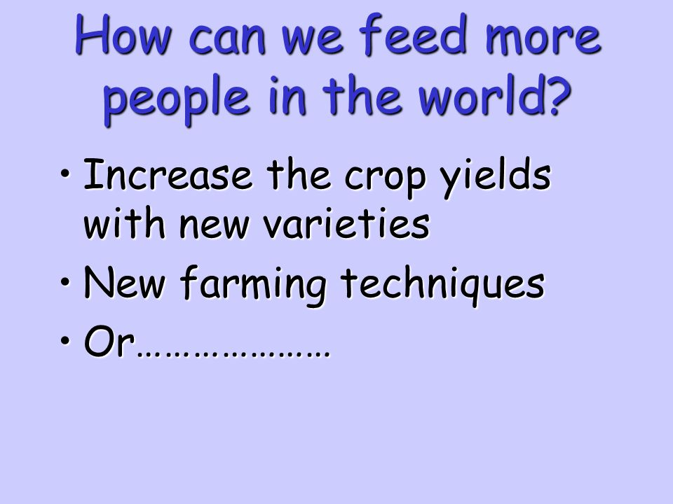 How can we feed more people in the world