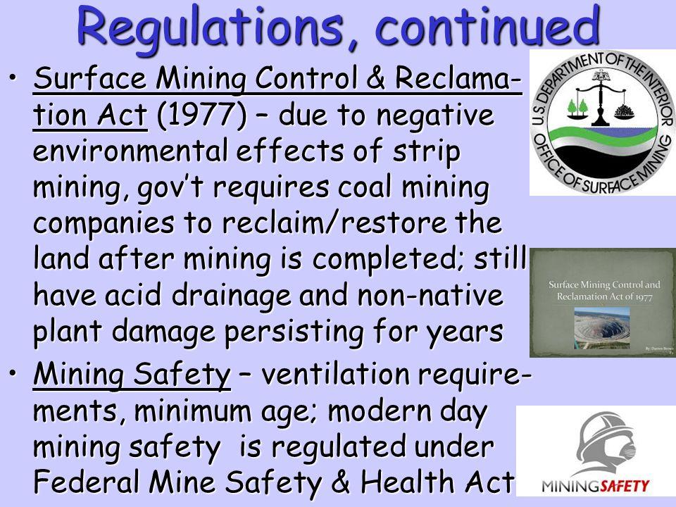 Regulations, continued