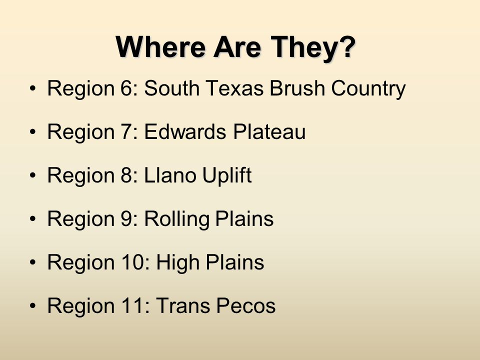 Where Are They Region 6: South Texas Brush Country