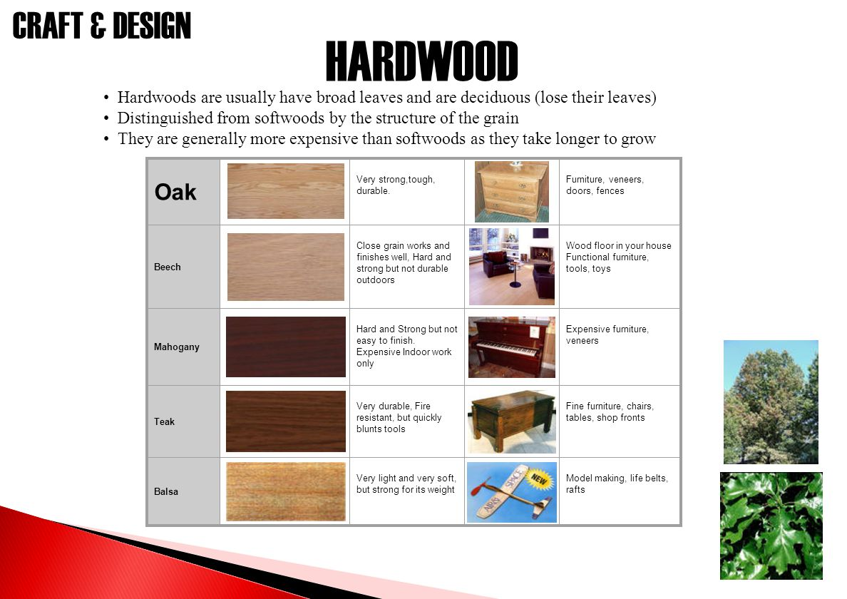 HARDWOOD Hardwoods are usually have broad leaves and are deciduous (lose their leaves) Distinguished from softwoods by the structure of the grain.