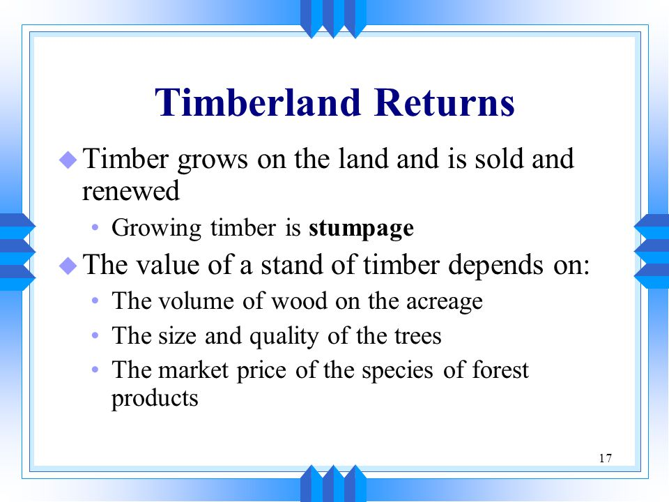 Timberland Returns Timber grows on the land and is sold and renewed
