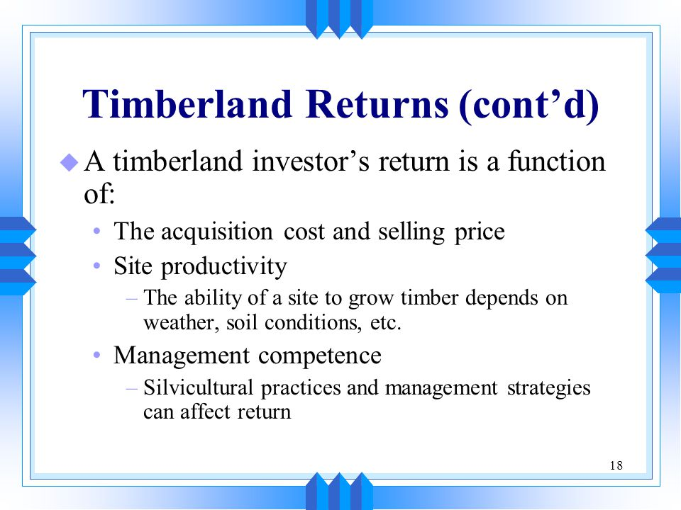 Timberland Returns (cont'd)