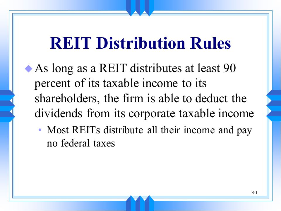 REIT Distribution Rules