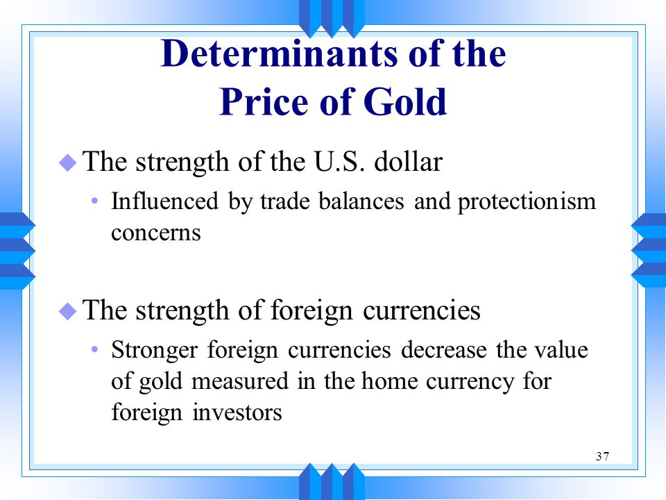 Determinants of the Price of Gold