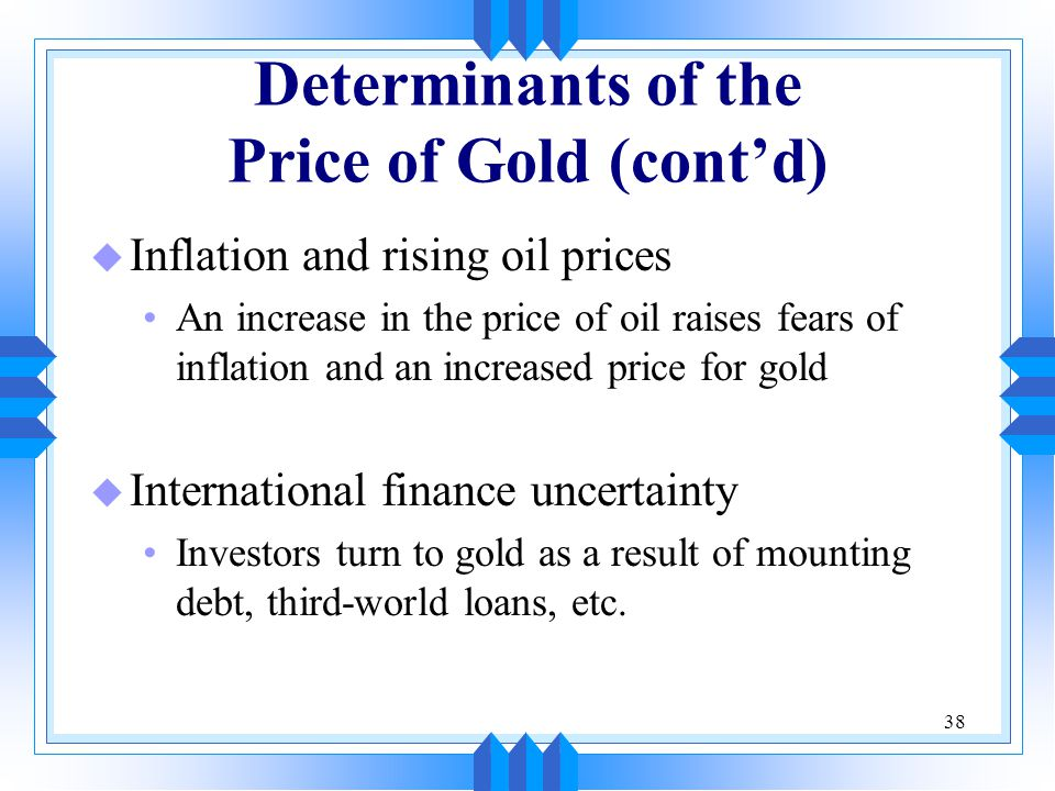 Determinants of the Price of Gold (cont'd)