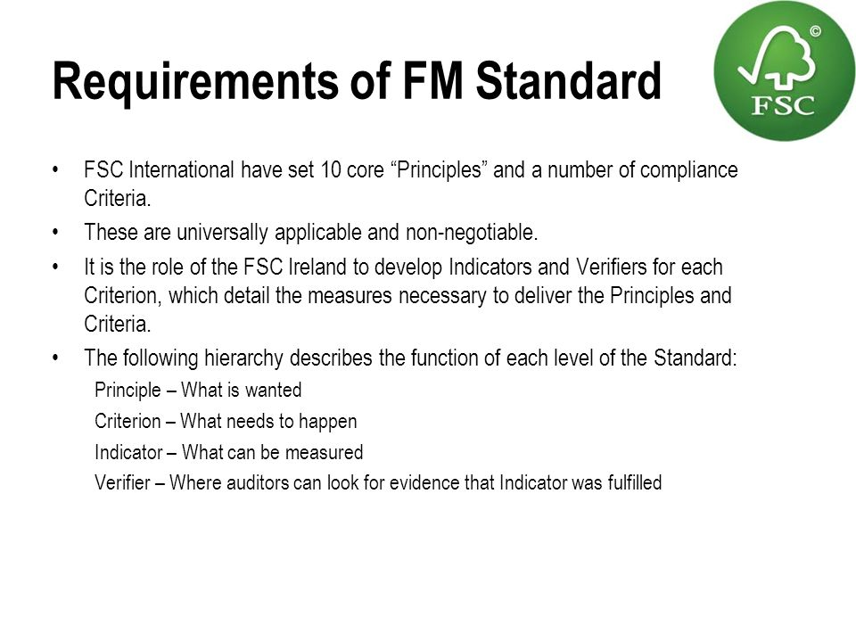 Requirements of FM Standard