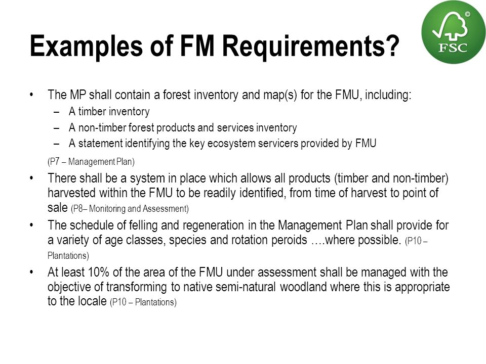 Examples of FM Requirements