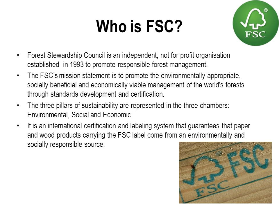 Who is FSC Forest Stewardship Council is an independent, not for profit organisation established in 1993 to promote responsible forest management.