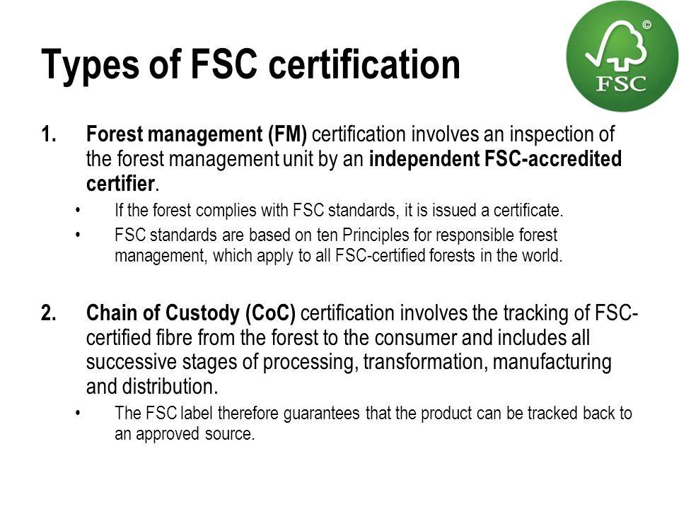 Types of FSC certification