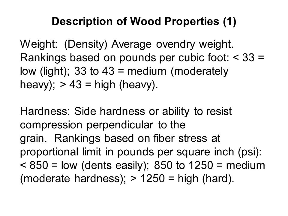 Description of Wood Properties (1)
