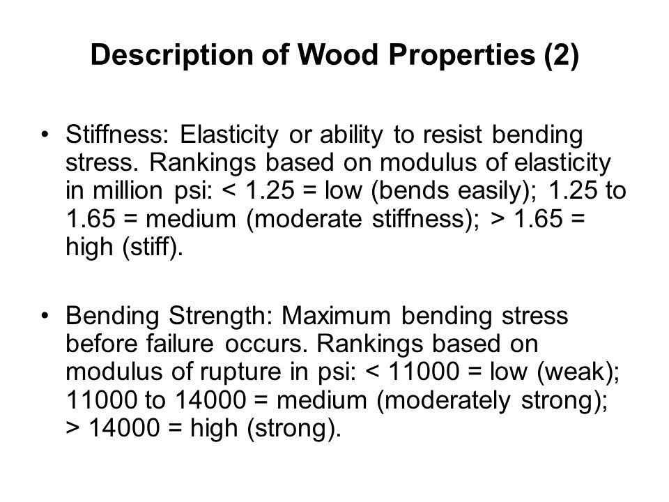 Description of Wood Properties (2)