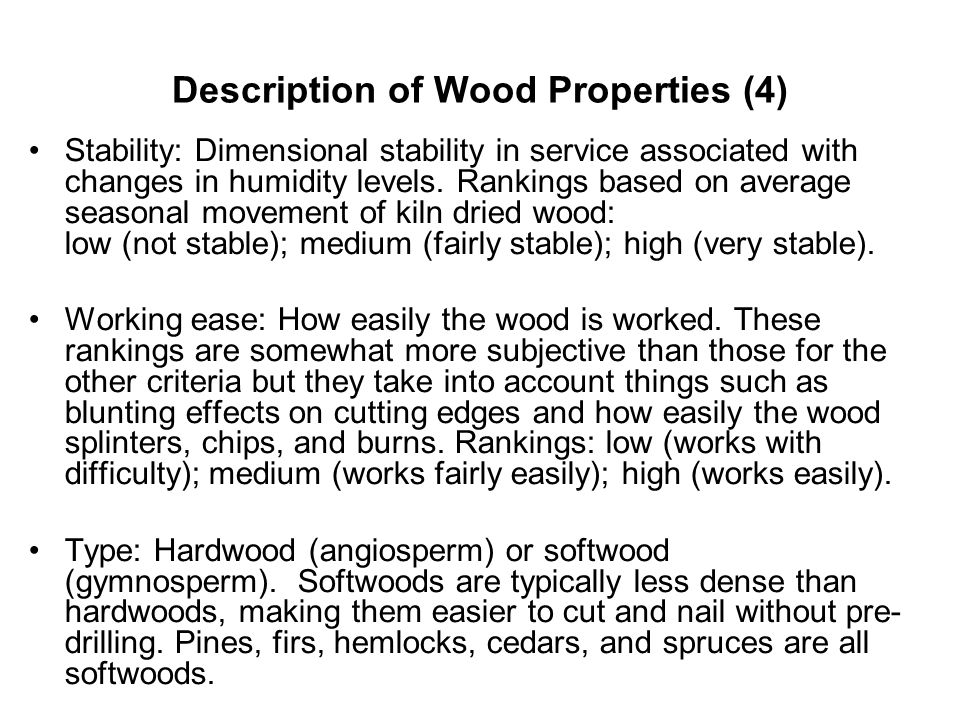 Description of Wood Properties (4)