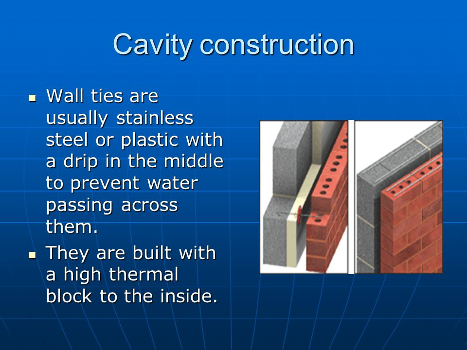 Cavity construction Wall ties are usually stainless steel or plastic with a drip in the middle to prevent water passing across them.