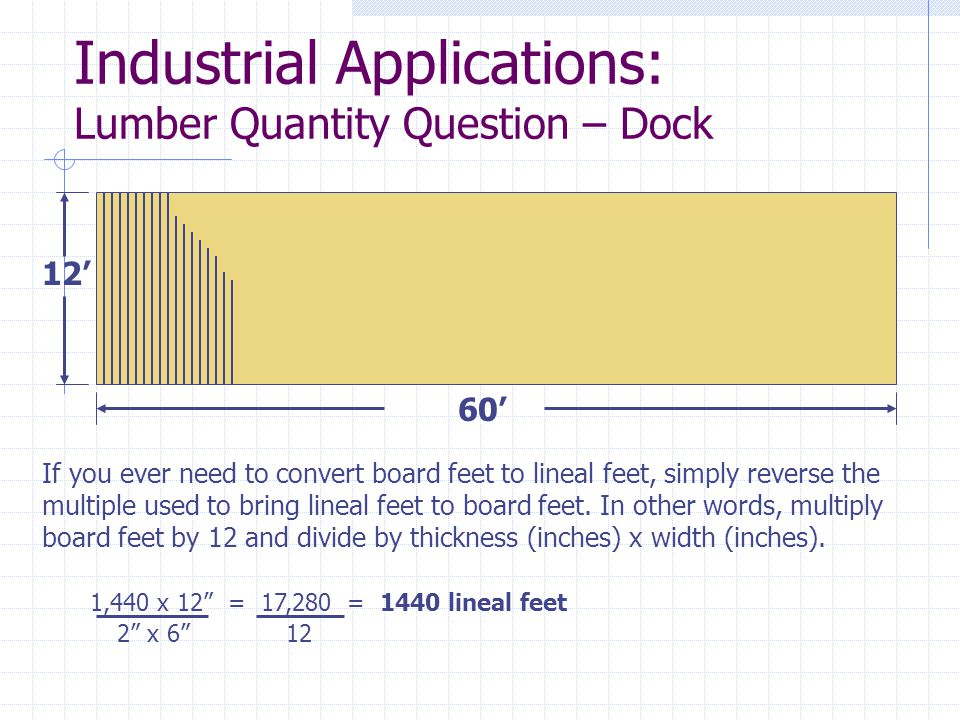 Industrial Applications: Lumber Quantity Question – Dock