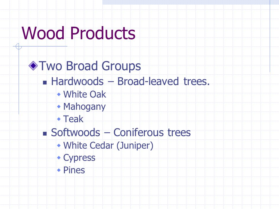 Wood Products Two Broad Groups Hardwoods – Broad-leaved trees.