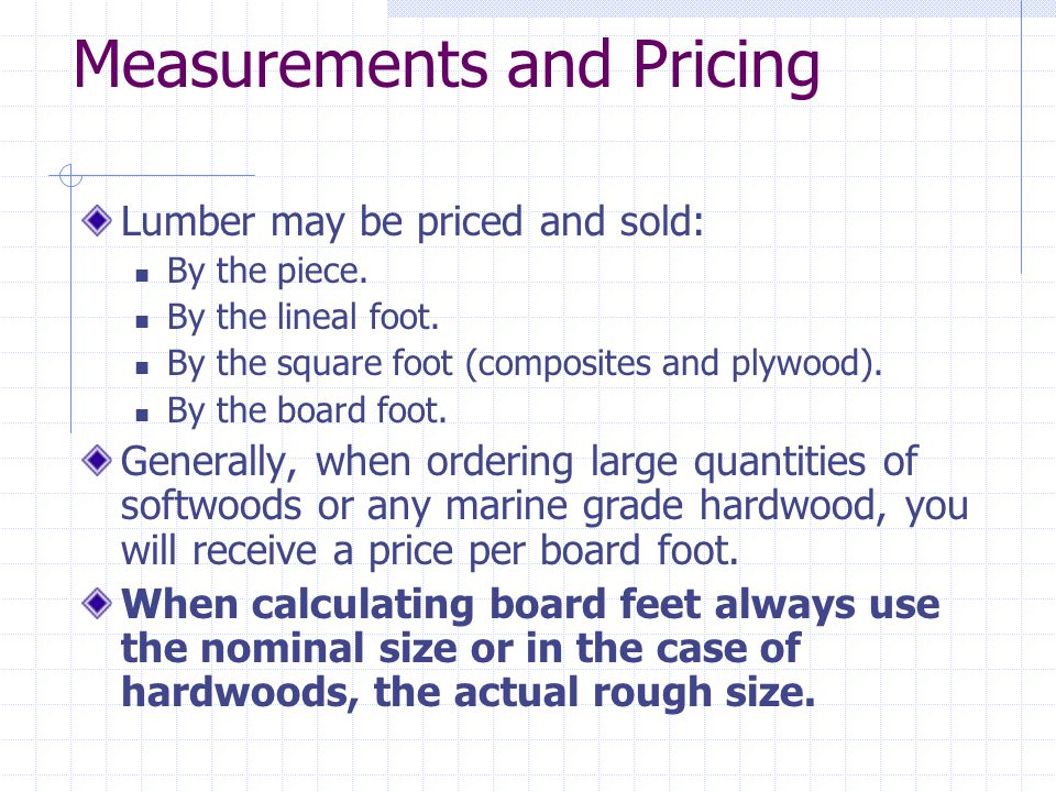 Measurements and Pricing
