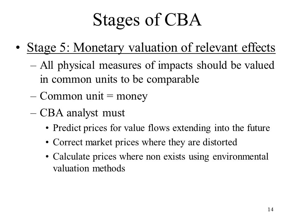 Stages of CBA Stage 5: Monetary valuation of relevant effects