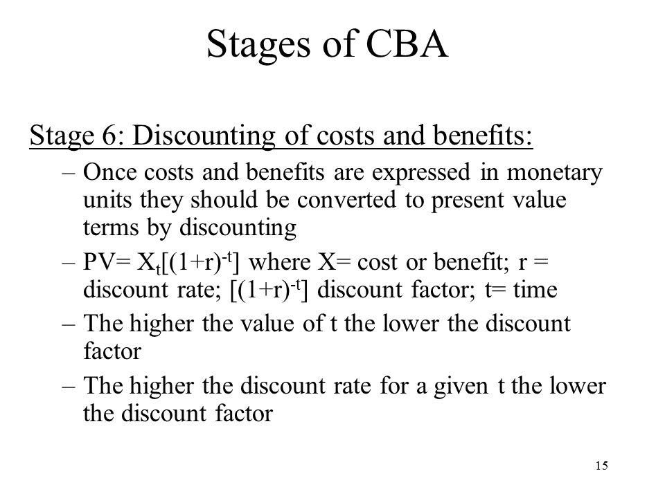 Stages of CBA Stage 6: Discounting of costs and benefits:
