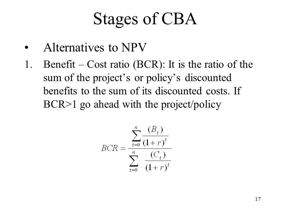 Stages of CBA Alternatives to NPV