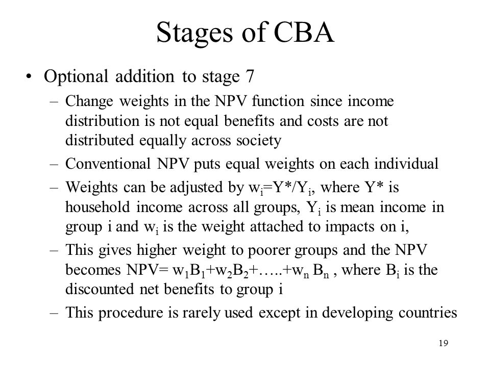 Stages of CBA Optional addition to stage 7